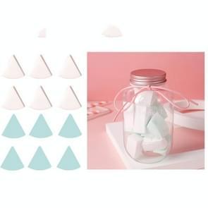 3 Sets 12 in 1 blikjes wegwerp poeder bladerdeeg driehoek make-up powder puff set ventilatorvormige poeder bladerdeeg (groen wit)