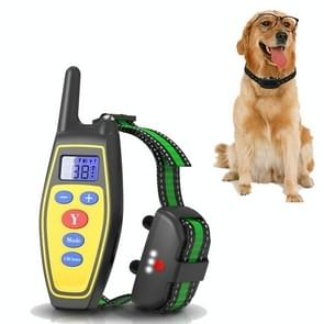 Dog Training Device Afstandsbediening Bark Control Opladen Waterdicht huisdier training kraag met elektrische schok trillingen (Geel)