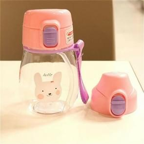 350ml Sippy Cup with Strap Baby Feeding Water Drink Leak Proof Bottle with Straw Baby Learning Drinking Tritan Bebe Copos(Pink Cover)