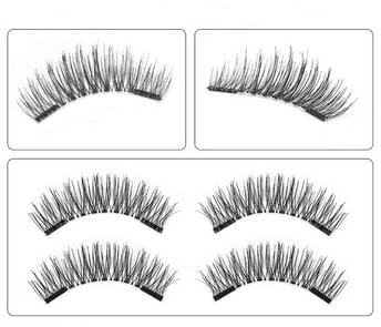 3 Pair 3D Magnetic Eyelashes Magnetic Lashes Natural False Eyelashes(24P-S)