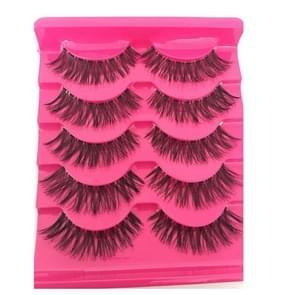 5 Pairs Fashion Women Soft Natural Long Cross Fake Eye Lashes Handmade Thick False Eyelashes