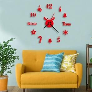3 PCS Acryl 3D Wall Clock DIY woonkamer slaapkamer muur achtergrond decoratie (rood)