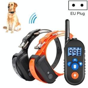 800m Afstandsbediening Elektrische Schokschors Stopper Vibration Warning Pet Levert Elektronische Waterdichte Halsband Training Device  Style:556-2 (EU Plug)