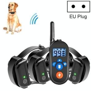 800m Afstandsbediening Elektrische Schokschors Stopper Vibration Warning Pet Levert Elektronische Waterdichte Halsband Training Device  Style:556-3 (EU Plug)