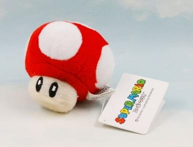 6 CM Super Mario Bros Mushrooms Plush Keychain Anime Figures Toys For Kids Birthday Gifts(Red)