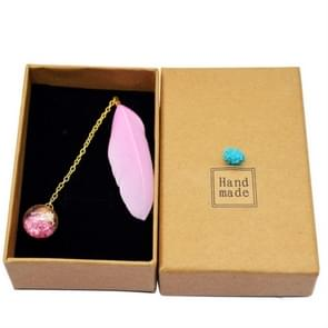 Feather Glass Ball Pendant Bookmark School Stationery Office Supplies(Pink)