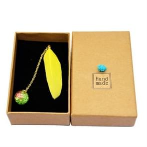 Feather Glass Ball Pendant Bookmark School Stationery Office Supplies(Yellow)