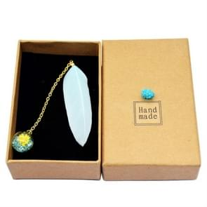 Feather Glass Ball Pendant Bookmark School Stationery Office Supplies(Light Blue)