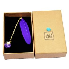 Feather Glass Ball Pendant Bookmark School Stationery Office Supplies(Purple)