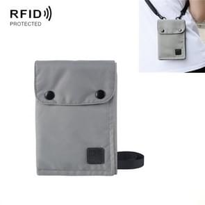 Antimagnetische RFID Opknoping Nek Nylon Paspoort Tas Waterdichte Opslag Veranderen Mobiele Telefoon Tas (Grijs)