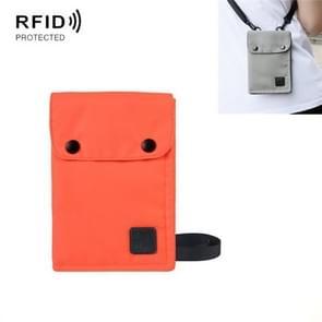 Antimagnetische RFID Opknoping Nek nylon paspoort zak waterdichte opslag Veranderen mobiele telefoon tas (Oranje)