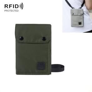 Antimagnetische RFID Opknoping Nek Nylon Paspoort Tas Waterdichte Opslag Veranderen Mobiele Telefoon Tas (Groen)