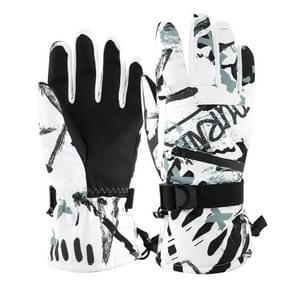 Winter Thermische ski handschoenen Outdoor Waterproof Velvet Handschoenen Verdikking Touch Screen motorhandschoenen  grootte: XL (Wit)