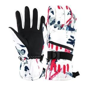 Winter Thermische ski handschoenen Outdoor Waterproof Velvet Handschoenen Verdikking Touch Screen motorhandschoenen  grootte: XL (Rood)