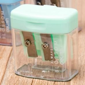 Double Holes Plastic Pencil Sharpeners Candy Color Transparent Standard Pencil Cutting Machine(Light green)
