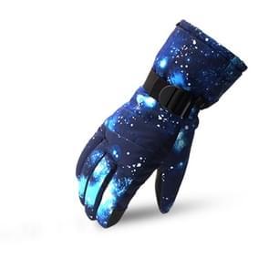 Touch Screen Ski Handschoenen Verdikt Anti-Skid Waterproof Velvet Handschoenen Windproof Warme Motorfiets Rijden Handschoenen  Grootte: L (Starry Blue)