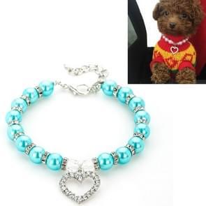5 PCS Pet Supplies Pearl Ketting Pet Collars Kat en Hond Accessoires  Grootte: S (Lake Blue)