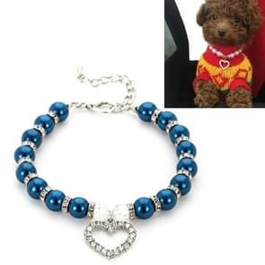 5 PCS Pet Supplies Pearl Ketting Pet Collars Kat en Hond Accessoires  Grootte: S (Donkerblauw)