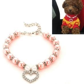 5 PCS Pet Supplies Pearl Ketting Pet Collars Kat en Hond Accessoires  Maat: L (Roze)
