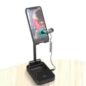 Lazy Desktop Mobile Phone Screen Live Broadcast Bracket Liker Met Power Bank Functie  Style: One Machine met One Ports(Black)