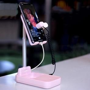 Lazy Desktop Mobile Phone Screen Live Broadcast Bracket Liker Met Power Bank Functie  Style: One Machine met One Ports (Pink)