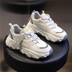 Herfst en winter casual sportschoenen vrouwelijke lederen oude schoenen  maat: 35 (Beige Grijs)