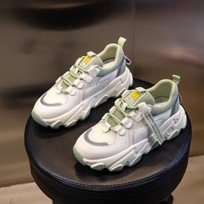 Herfst en winter casual sportschoenen vrouwelijke lederen oude schoenen  grootte: 35 (Beige Green Net)