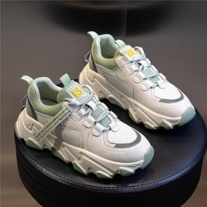 Herfst en winter casual sportschoenen vrouwelijke lederen oude schoenen  maat: 37 (Beige Green)