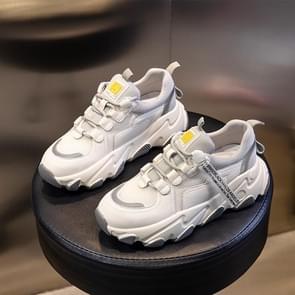 Herfst en winter casual sportschoenen vrouwelijke lederen oude schoenen  grootte: 37 (Beige Grijs net)