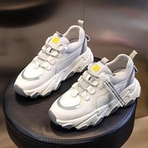 Herfst en winter casual sportschoenen vrouwelijke lederen oude schoenen  grootte: 37 (toename in grijs)