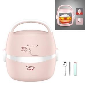 LOTOR Multifunctionele elektrische automatische verwarming lunchbox CN Plug  kleur: roze met bestek