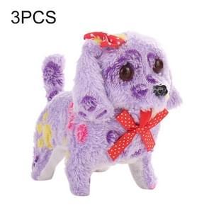 3 PCS Electronic Walking Pet Dog Stuffed Plush Toy Dog Forward Backward Doll with Voice