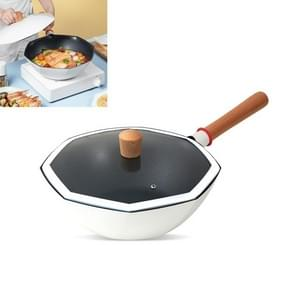 Flat-Bottomed Non-Stick Pan Huishouden Niet-Olieachtige Fume Wok Voor Gas For Stove & Inductie Cooker  Specificatie:Glazen Deksel