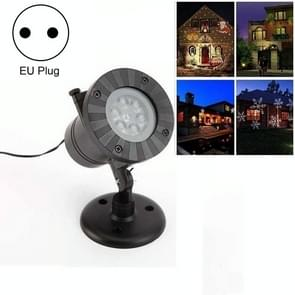 4W 12 Kaarten Outdoor Snowflake Projector Lamp Waterproof Laser LED Light Sound Control Stage Light (EU Plug)