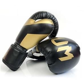 NW-036 Bokshandschoenen Volwassen Professionele Trainingshandschoenen Vechthandschoenen Muay Thaise vechthandschoenen  grootte: 6oz (Zwart)