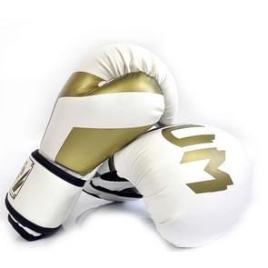 NW-036 Bokshandschoenen Volwassen Professionele Trainingshandschoenen Vechthandschoenen Muay Thaise vechthandschoenen  grootte: 6oz (Wit)