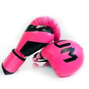 NW-036 Bokshandschoenen Volwassen Professionele Trainingshandschoenen Vechthandschoenen Muay Thaise vechthandschoenen  grootte: 6oz (Roze)