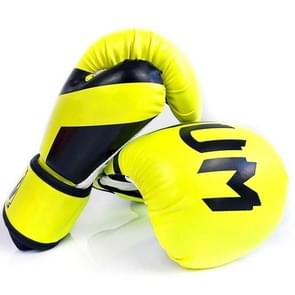 NW-036 Bokshandschoenen Volwassen Professionele Training Handschoenen Vechthandschoenen Muay Thaise vechthandschoenen  grootte: 6oz (Fluorescent Yellow)