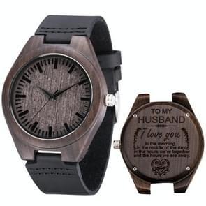 MU-1006 Gegraveerde letters houten horloge lederen riem quartz uurwerk horloge (naar echtgenoot 1)