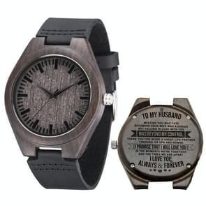 MU-1006 Gegraveerde letters houten horloge lederen riem quartz uurwerk horloge (naar Echtgenoot 2)