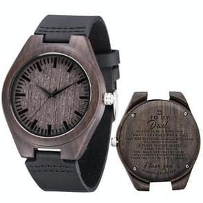 MU-1006 Gegraveerde letters houten horloge lederen riem quartz uurwerk horloge (aan papa)