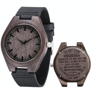 MU-1006 Gegraveerde letters houten horloge lederen riem quartz uurwerk horloge (moeder tot zoon)