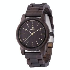 UWOOD UW-1007 Mannen Houten Horloge Ronde Grote Wijzerplaat Horloge (Zwart)