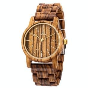 UWOOD UW-1007 Mannen Houten Horloge Ronde Grote Wijzerplaat Horloge (Zebra Hout)