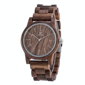 UWOOD UW-1007 Mannen Houten Horloge Ronde Grote Wijzerplaat Horloge (Walnoot)