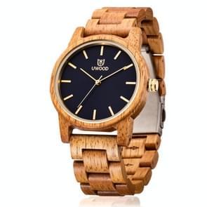 UWOOD UW-1007 Mannen Houten Horloge Ronde Grote Wijzerplaat Horloge (Mango Hout)