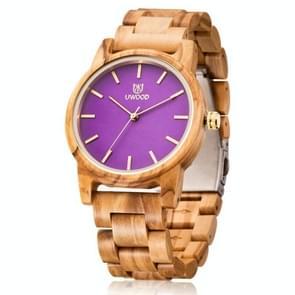 UWOOD UW-1007 Mannen Houten Horloge Ronde Grote Wijzerplaat Horloge (Olive Wood)