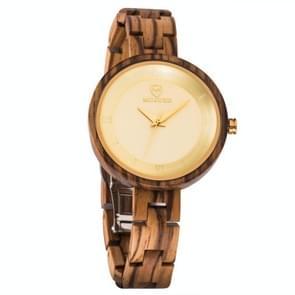 MUJUZE MU-1003 Dames Houten horloge ronde grote wijzerplaat horloge (Zebra Hout)