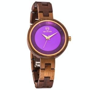 MUJUZE MU-1003 Dames houten horloge ronde grote wijzerplaat horloge (Acacia)