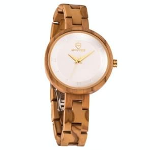 MUJUZE MU-1003 Dames houten horloge ronde grote wijzerplaat horloge (Olive Wood)